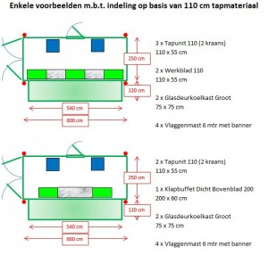 tapbuffetopstelling op basis van 110 cm materiaal tbv eventcontainer